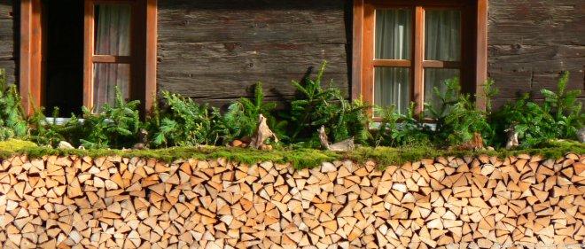 Ferienhütten in Deutschland Selbstversorgerhütte mit Holzstoß