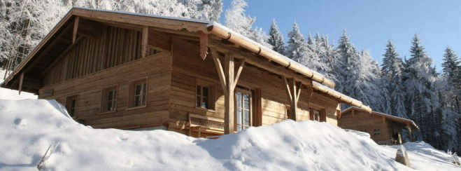 Wellness Luxus Chalet in Deutschland Bergchalet Bayern im Winter